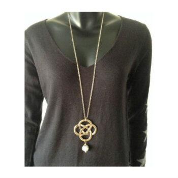 Lang halskæde, med vedhæng guldfarvet