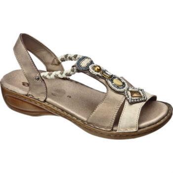 Ara sandal med elastik remme, pyntet med perler og sten