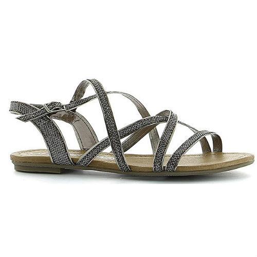 Rem sandal i sort sølv effekt, med mange tynde remme