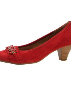 Gabor pump, flot rød ruskind med pynt, ca 5 cm hæl. Nyholmstrand Sko