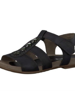 Jana sandal i sort skind, med pyntesten