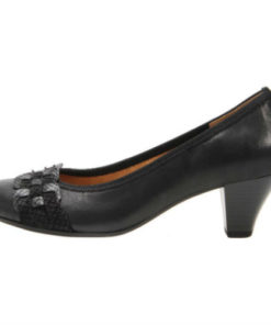 Gabor 5 cm hæl pump i sort skind