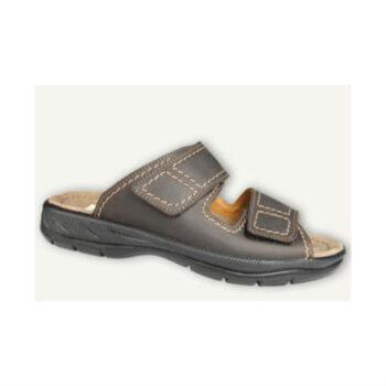 Jomos herre sandal med velcro, brun skind