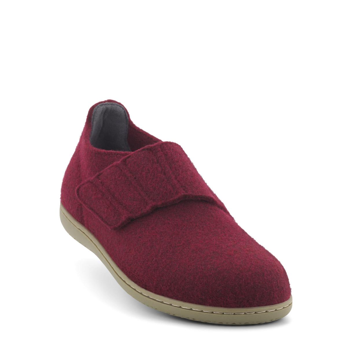 New Feet uldfiltet hjemmesko, bordeaux
