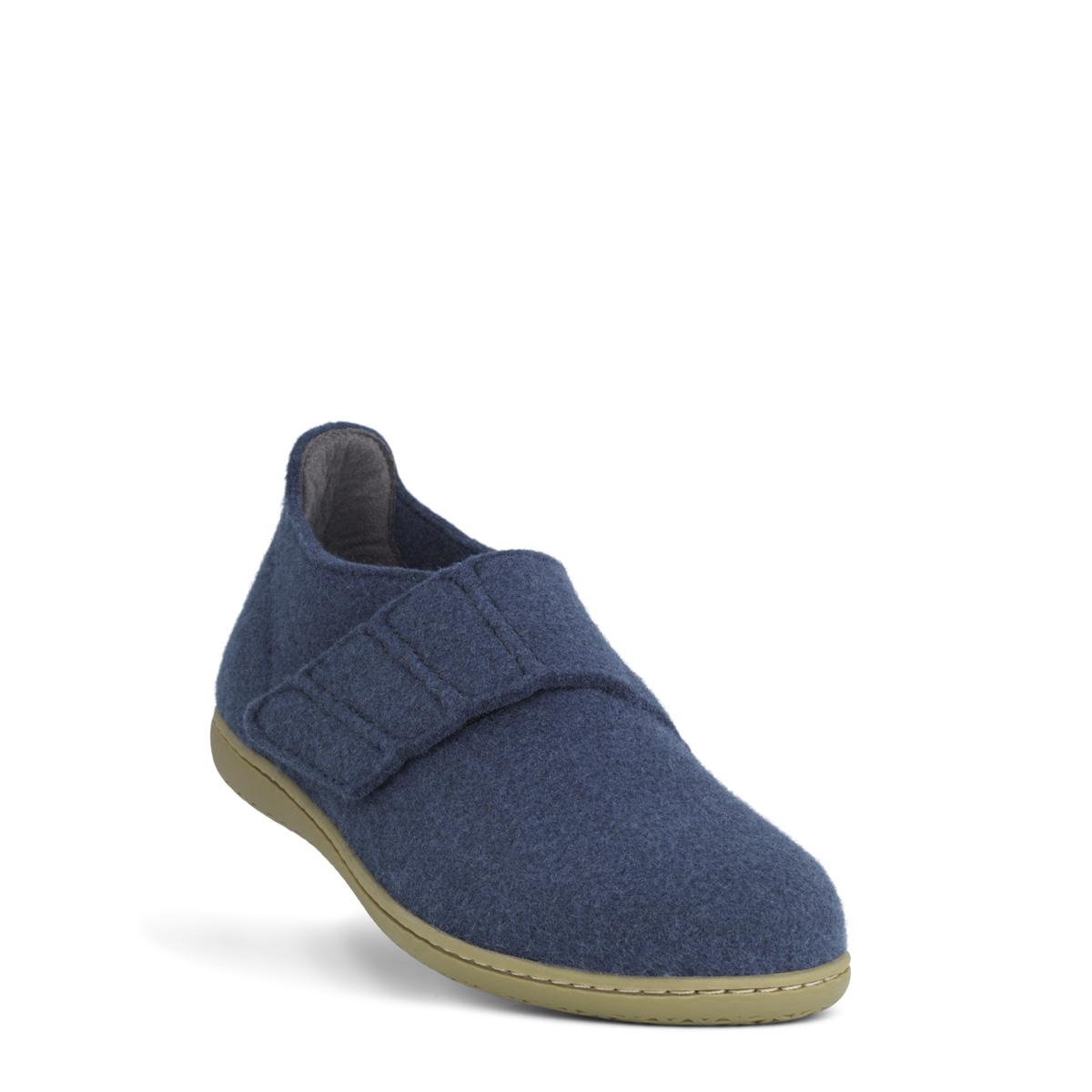 New Feet uldfiltet hjemmesko, grå blå