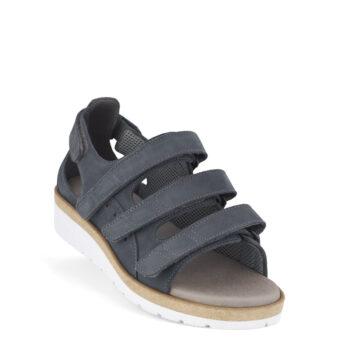 New Feet let, bred sandal med gænge, gråblå nubuck