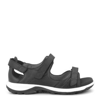 New Feet sandal med hælkappe, sort skind