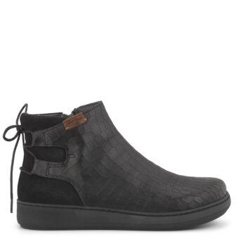 Kroko præget sort støvlet fra New Feet. set fra siden
