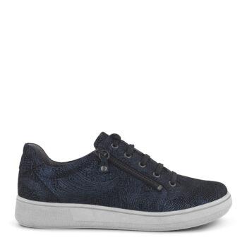 Lækker New Feet sko i sejt metallic blå print, god plads til fødderne.
