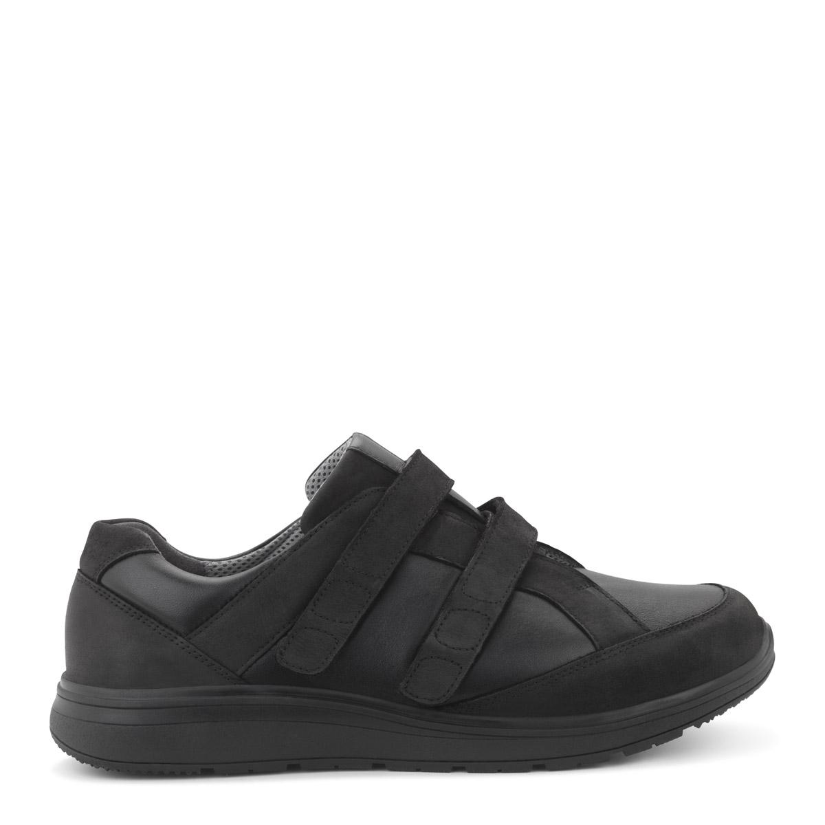 Kondilike sko med velcro, helt sort model fra New Feet.