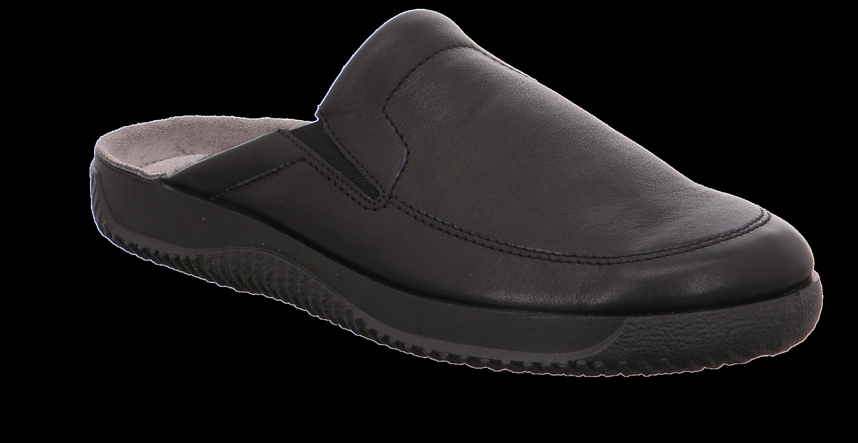 Rohde tøffel i sort skind, med fast sål