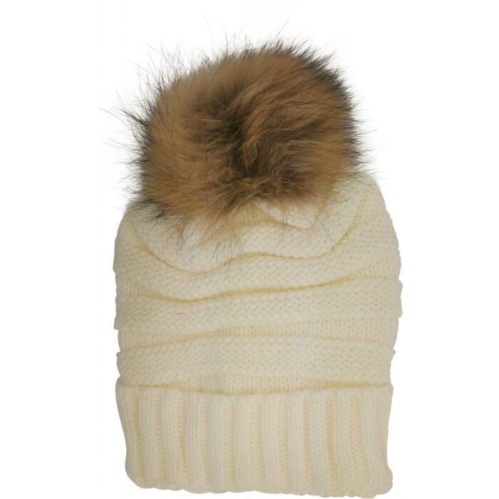 Strikket hue med ægte pels