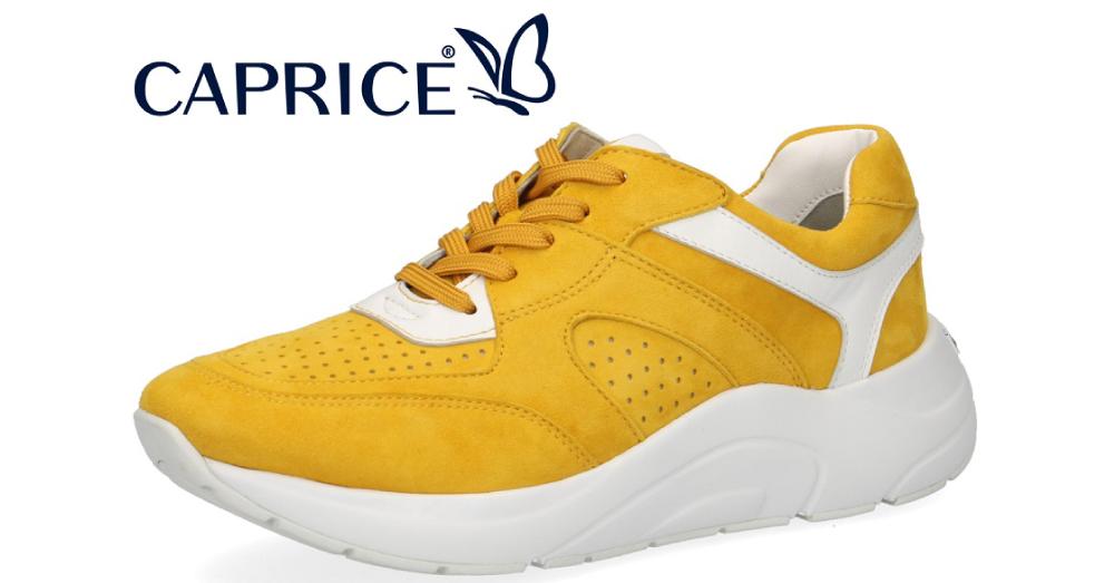 Sneaker fra Caprice i frisk gul farve