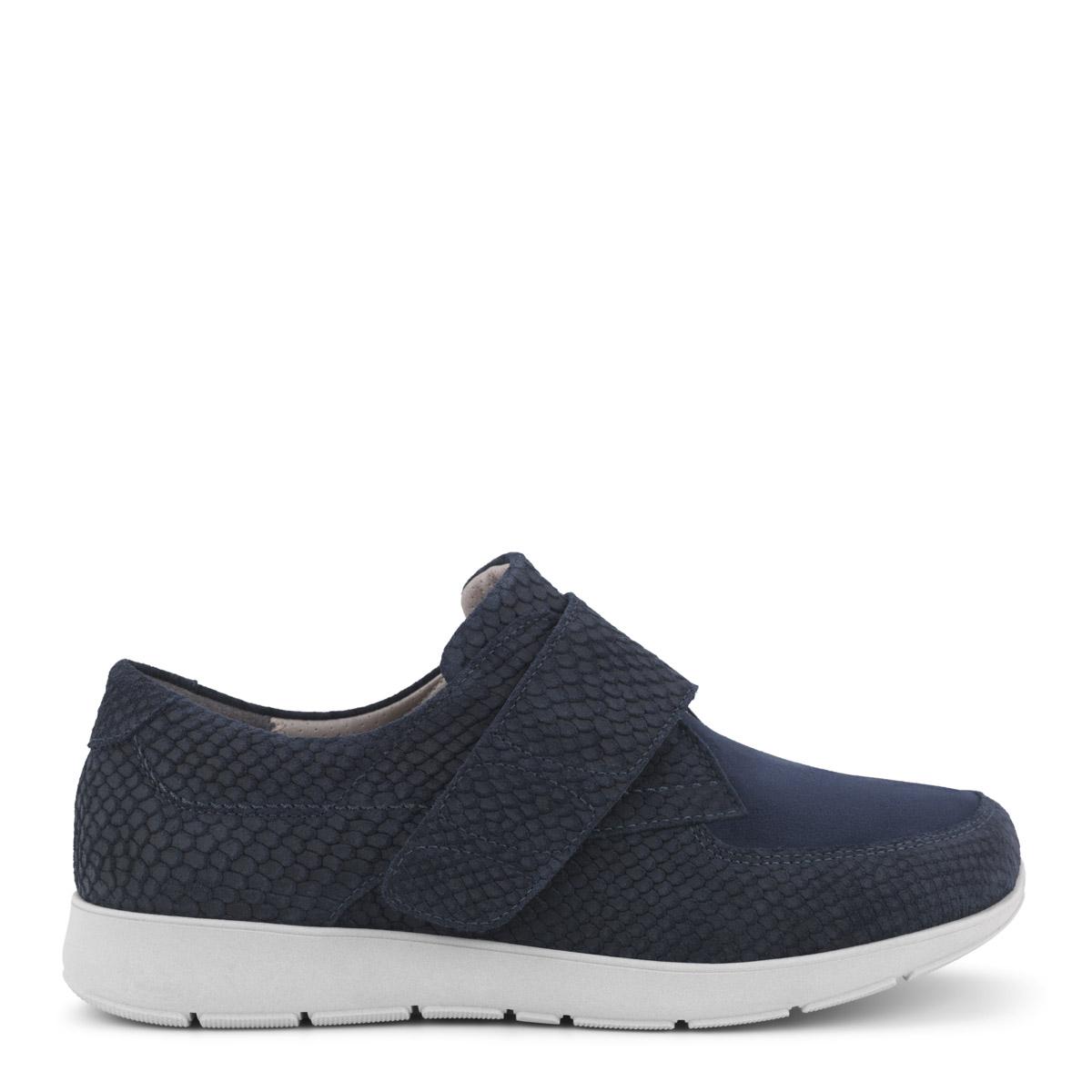 New Feet blå velcrosko med præget skind