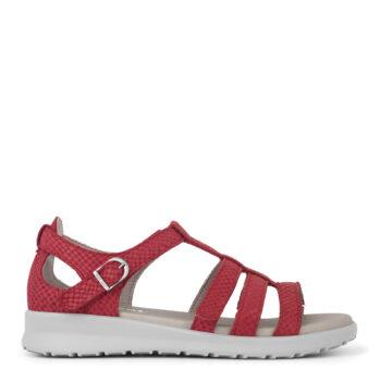 New Feet sandal i rød nubuck med 3 velcroremme og hælkappe