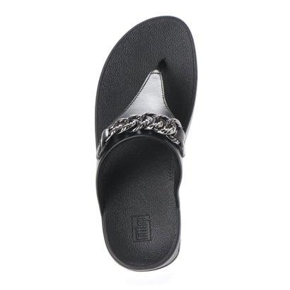 FitFlop tåsplit sandal i sort med kæde