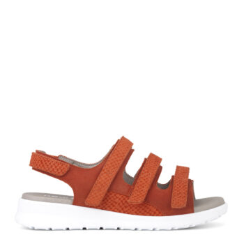 New Feet sandal med 3x velcro, fræk orange