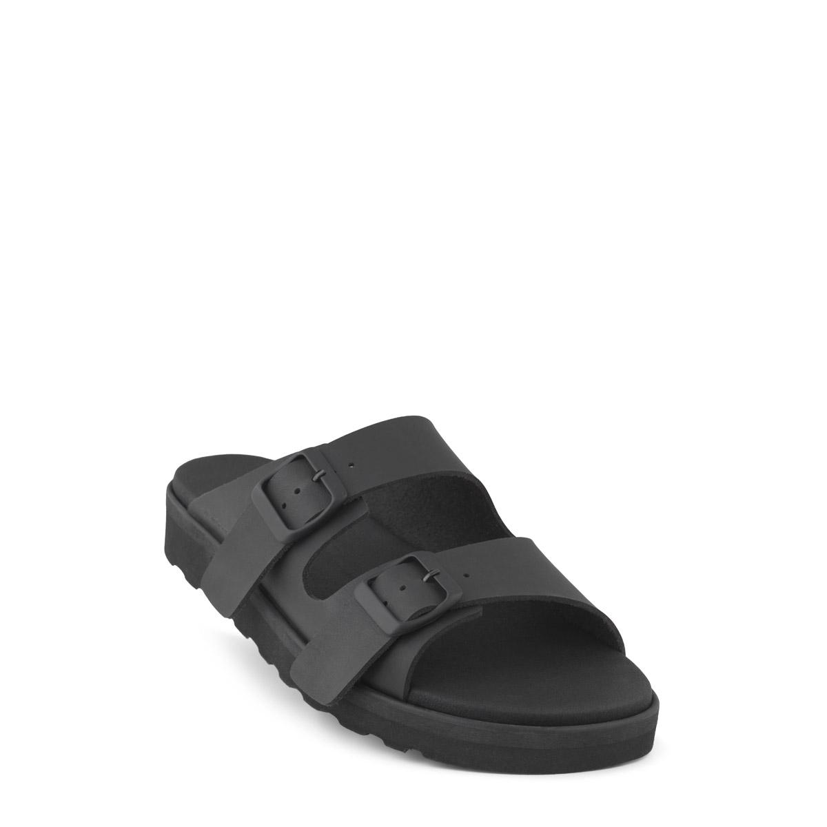 New Feet herre slipper i sort let materiale