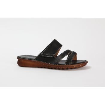 Relaxshoe sandal med velcro ved vristen sort skind
