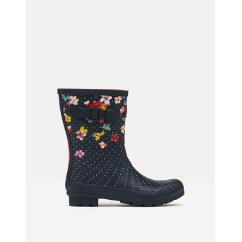 Joules gummistøvle i navyblå med blomster