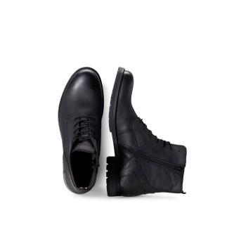 Jack & Jones sort læder støvle, med snøre og lynlås