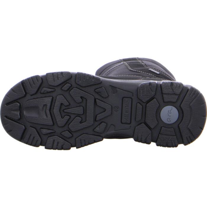Ara herrestøvle i sort nylon, med grov sål