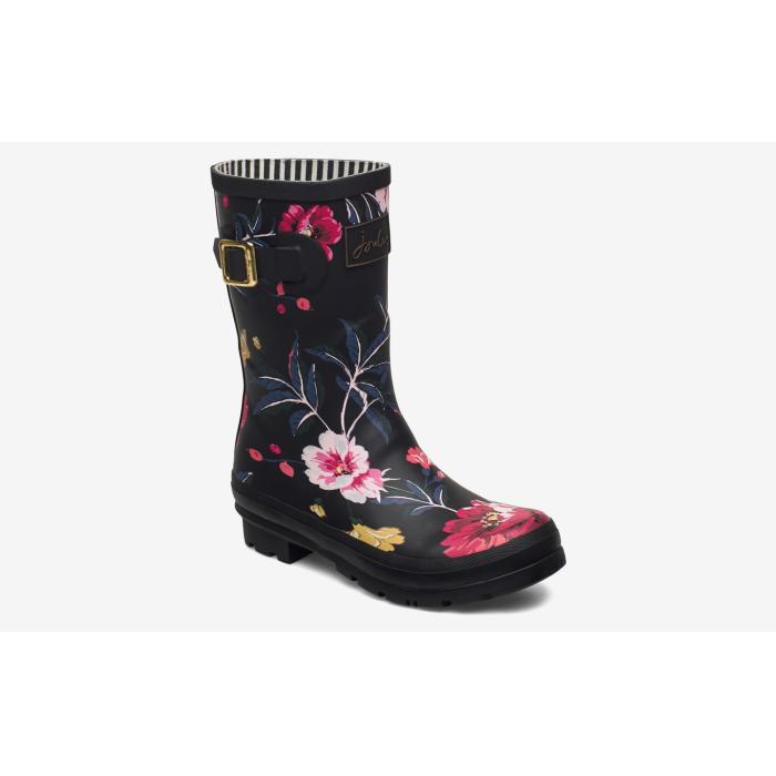 Joules gummistøvler i naturgummi, sort med blomster