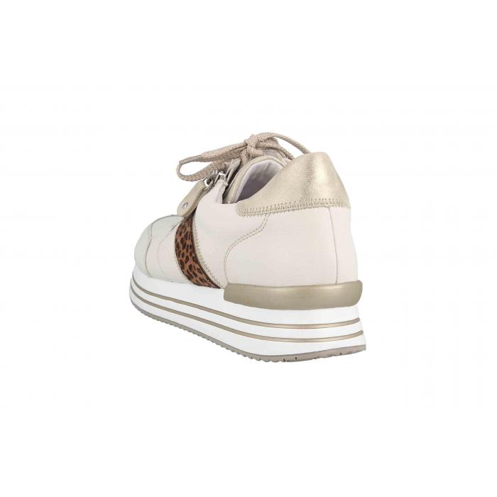 Remonte by Rieker sneaker i creme farvet skind, snøre og lynlås
